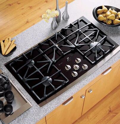 "GE Profile JGP970 36"" Gas Cooktop with 5 Sealed Burners, Precise Simmer Burners, Gas-on-Glass Cooktop, Control Lock Capability and ADA Compliant"