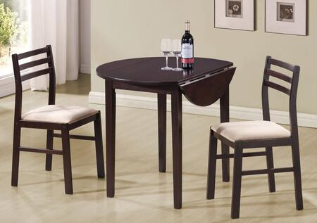 """Coaster Dinettes 35"""" 3 PC Dinette Set with 2 Chairs, Padded Fabric Seats, Round Top Table, Drop Down Leaves Extension and Tapered Legs in"""
