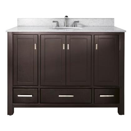 "Avanity MODERO-V48-X Modero 48"" Vanity Only, with Four Soft Close Doors, Three Soft Close Drawers, and Brushed Nickel Finished Hardware"
