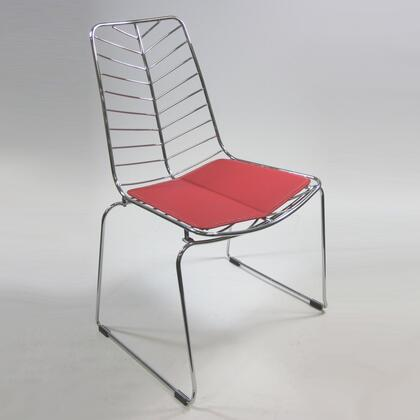 Fine Mod Imports FMI2014RED Wire Series Armless Leather Polished Steel Frame Accent Chair