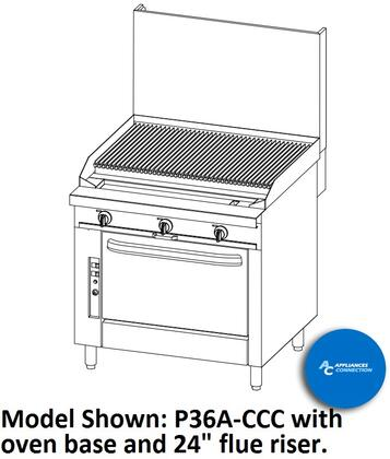 "Southbend P36CCC Platinum Series 36"" Sectional Charbroiler Range with All Stainless Steel Construction and Six Standard Burners, Up to 96000 BTUs (NG)/84000 BTUs (LP)"