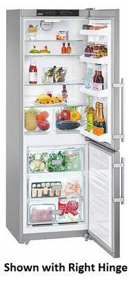 "Liebherr CS12 24"" Star K, Energy Star Bottom Freezer Refrigerator with 11.46 cu. ft. Capacity, SuperFrost, Door Storage, Acoustic Door and Temperature Alarm: Stainless Steel with"
