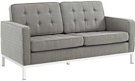 Modway EEI2051GRA Loft Series Polyester Stationary with Metal Frame Loveseat
