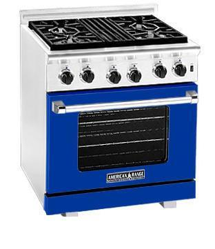 American Range ARR304BU Heritage Classic Series Natural Gas Freestanding Range with Sealed Burner Cooktop, 4.8 cu. ft. Primary Oven Capacity, in Sapphire Blue
