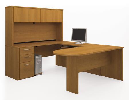 Bestar Furniture 60875 Embassy U-shaped worksation kit including assembled pedestal