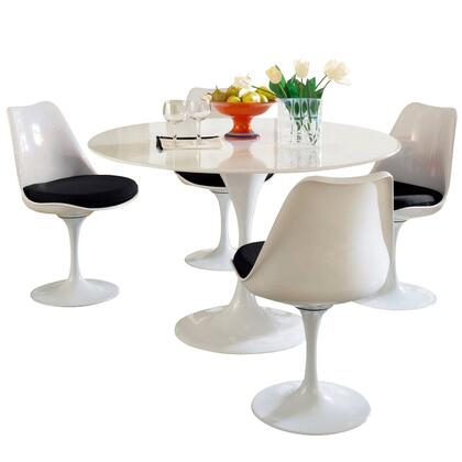 Modway EEI-854 Lippa 5 Piece Dining Set with Modern Design, Fiberglass Top and Base, Scratch Resistant White Finish, and Cloth Cushions in