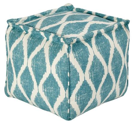 "Signature Design by Ashley Bruce A100054X 18.5"" Cotton Pouf Ottoman with Ikat Trellis Pattern, Hand Stitching Details and Filled with EPS Beads in"