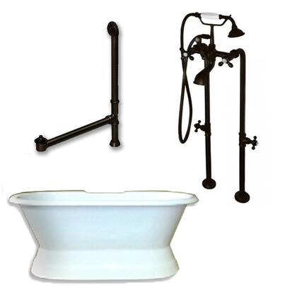 "Cambridge DESPED398463PKG Cast Iron Double Ended Slipper Tub 71"" x 30"" with No Faucet Drillings and Complete Free Standing British Telephone Faucet and Hand Held Shower Plumbing Package"