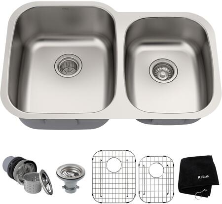 Kraus KBU2A Premier Series Undermount Double-Bowl Kitchen Sink with 16-Gauge Stainless Steel Construction, NoiseDefend, and Commercial-Grade Satin Finish