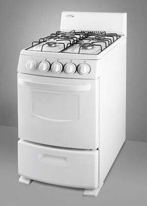 """Summit R200W 20"""" White Pearl Series Slide-in Gas Range with Sealed Burner Cooktop Broiler 2.62 cu. ft. Primary Oven Capacity"""