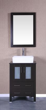 Bosconi Bosconi Vanity Set with Tempered Glass Top, White Rectangle Ceramic Vessel Sink , Faucet and Vertically Mounted Vanity Mirror in Espresso