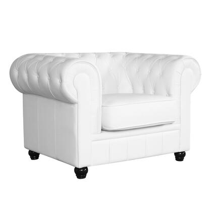 Fine Mod Imports FMI2198WHITE Chestfield Series Leather Lounge with Wood Frame in Other