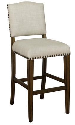 American Heritage Worthington Series 130896 Transitional Stool with Metal Footplate and Adjustable Leg Levelers Finished in Coastal Grey with Sahara Sand Linen Upholstery (Set of 2 Stools)