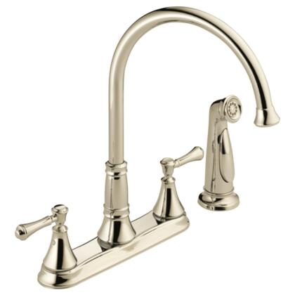 Cassidy  2497LF-PN Delta Cassidy: Two Handle Kitchen Faucet with Spray in Polished Nickel