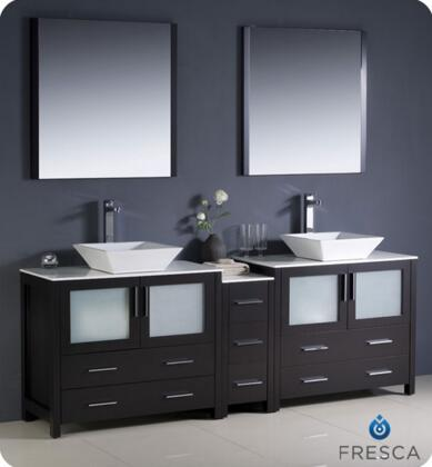 """Fresca Torino Collection FVN62-361236XX-VSL 84"""" Modern Double Sink Bathroom Vanity with Side Cabinet, 2 Vessel Sinks and 7 Soft Closing Drawers in"""