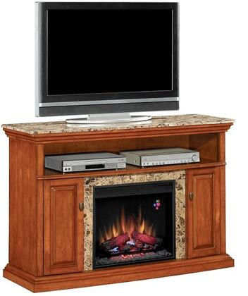Classic Flame 23MM1424 Brighton Electric Fireplace Media Cabinet with Real Marble Top, Storage Cabinets, Panel Doors, Adjustable Wood Shelves and Antique Brass Hardware in