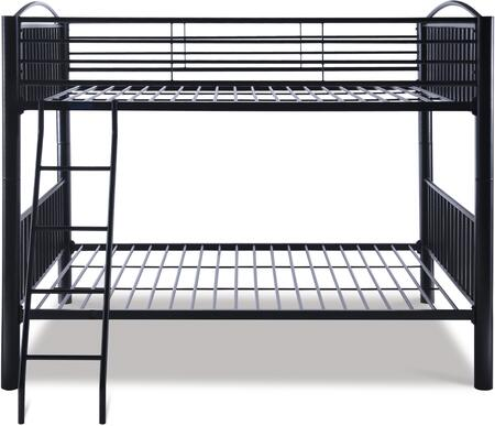 Powell 938 Heavy Metal Bunk Bed with Sturdy Step Ladder in Black Finish