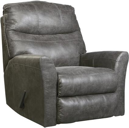 "Signature Design by Ashley 6920 Tullos 37"" Rocker Recliner with Split Back Cushion, Jumbo Stitching, Metal Frame and Faux Leather Upholstery in"
