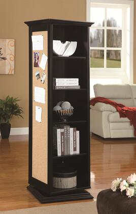 Coaster 91008 Swivel Cabinet with 5 Storage Shelves, 3 Hooks, Cork Board, and Mirror in Finish