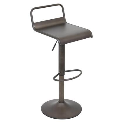 "LumiSource Emery BS-TW-EMRY 29"" - 37"" Barstool with 360-Degree Swivel, Matte Metal Finish and Footrest in"