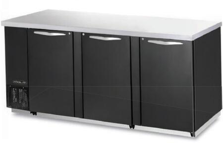 "Kool-It KBB903Sx 90"" Back Bars with Capacity of 31.5 cu.ft, 3 Door, 6 Shelves, 3/8 HP, in Black"