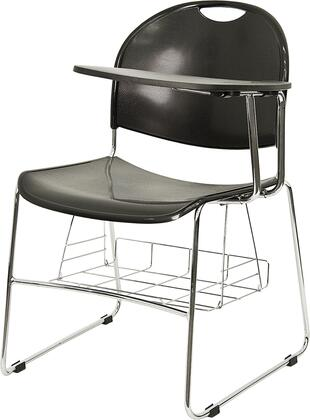 """Flash Furniture RUT-NC188-03C-04A-X-GG 17"""" High Density Facing Flip-Up Tablet Arm Chair with Chrome Frame, Under Seat Book Storage Basket,  and Non-Skid Floor Glides in Black"""