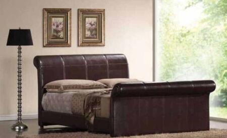 Yuan Tai MN4012 Montgomery Bicast Padded Leather Sleigh Bed in a Chocolate Finish