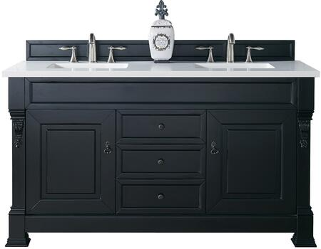 "James Martin Brookfield Collection 147-114-5631- 60"" Antique Black Double Vanity with Two Soft Closing Doors, Three Soft Closing Drawers, Backsplash, Hand Carved Filigrees and"