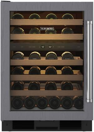 "Sub-Zero UW-24X 24"" Undercounter Wine Storage with 46 Wine Bottle Capacity, 5 Racks, Dual Evaporators, Two Independent Temperature Zones, and UV-resistant Glass Door, in"