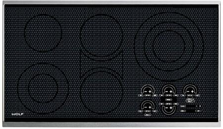 "Wolf CT36E 36"" Electric Cooktop with Ceran Ceramic Glass Surface, Pulsation Technology, True Simmer, Touch Controls, 5 Heating Elements and 9 Zones:"