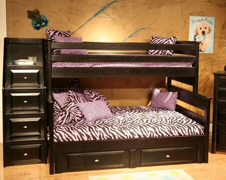Chelsea Home Furniture 3534522-4526-X Twin Over Full Bunk Bed with Stairway Chest, Rustic Style, and All Pine Wood Construction in Black Cherry