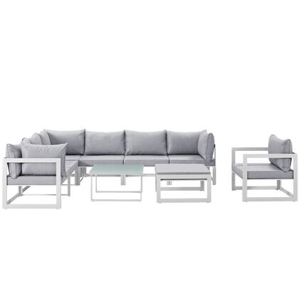 Modway Fortuna Collection EEI-1734- 9-Piece Outdoor Patio Sectional Sofa Set with Ottoman, Side Table, Single Sofa, 3 Center Sections and 3 Corner Sections in