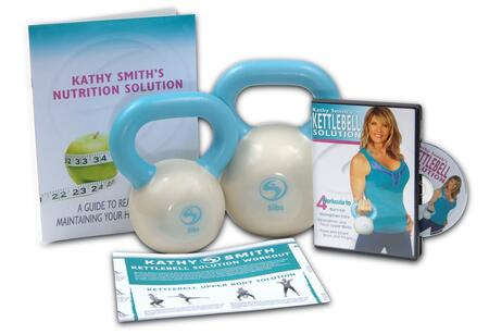 Picture of 05-3005 Kathy Smith Kettlebell Solution with One 3 lbs Kettlebell  One 5 lbs Kettlebell  One DVD  Nutrition Solution and Workout Wall