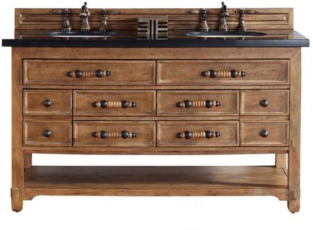 "James Martin Malibu Collection 500-V60D-HON- 60"" Honey Alder Double Vanity with Eight Drawers, Bottom Shelf, Rustic Iron Hardware and"