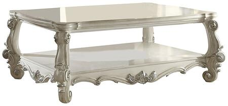 Acme Furniture 8212C Versailles Rectangular Coffee Table with Open Compartment Bottom Shelf, Carved Apron and Scrolled Legs in