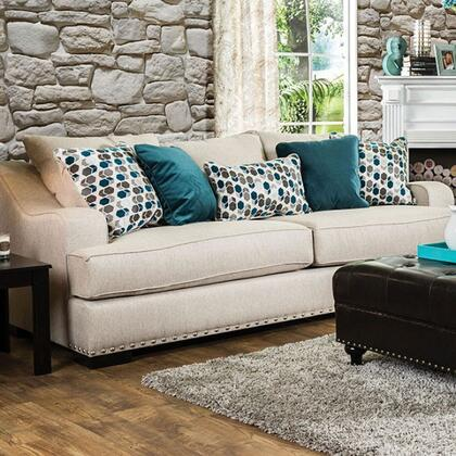"Furniture of America Arklow Collection SM124X-SF 96"" Sofa with Nailhead Trim, Fabric Upholstery and Sloped Arms in"