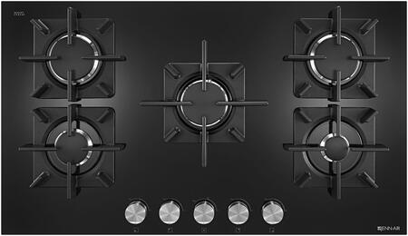 Jenn-Air JGC253EB Gas Cooktop with Glass Ceramic Surface, 5 Sealed Burners, 18000 BTU Dual stacked PowerBurner, and Flame-Sensing Re-ignition, in Black