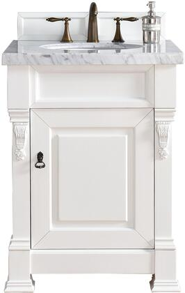 "James Martin Brookfield Collection 147-114-V26-CWH- 26"" Cottage White Single Vanity with One Soft Closing Door, Backsplash, Hand Carved Filigrees and"