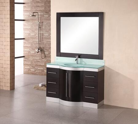 """Design Element DEC024 Jade 48"""" Single Sink Vanity Set with"""
