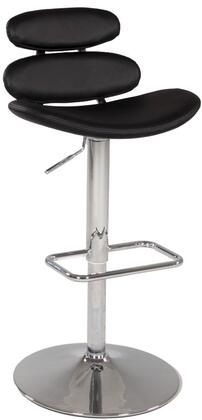 Chintaly 0642ASBLK Residential Bonded Leather Upholstered Bar Stool