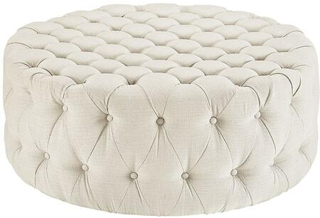 Modway EEI2225BEI Amour Series Fabric Wood Frame Ottoman