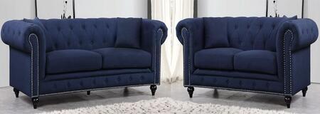 Meridian 662NAVYSL Chesterfield Living Room Sets