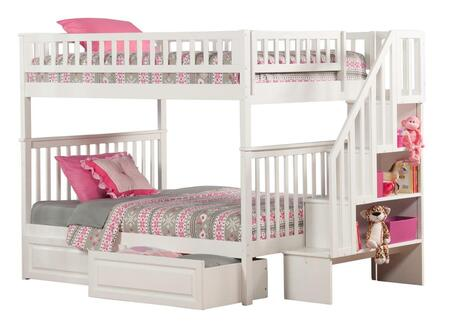 Atlantic Furniture AB5682 Woodland Staircase Bunk Bed Full Over Full With Raised Panel Bed Drawers