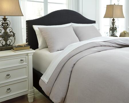 Signature Design by Ashley Bergden Q7340 3 PC King Size Duvet Cover Set includes 1 Duvet Cover and 2 Standard Shams with Solid Design, Linen Face and Cotton Back Material in Color