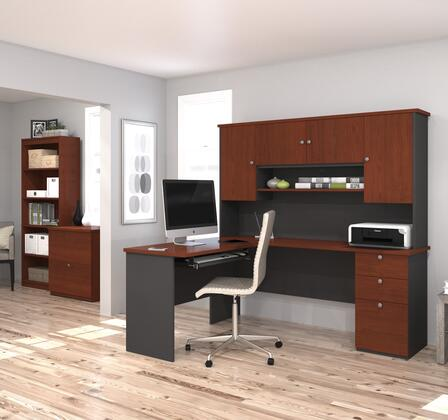 Bestar Furniture 81851 Manhattan L-shaped workstation with lateral file and bookcase
