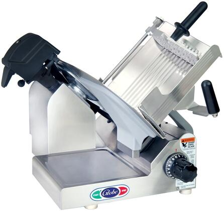 """Globe 3XXXN N Series 13"""" Premium Slicer with PreciseEdge Knife, Adjustable Slicing Table, Premium Gear Drive System and Precision Gear Slice Thickness Adjustment in Stainless Steel"""