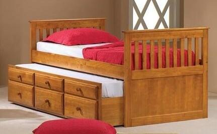 Donco 103H Honey Finish Mission Hardwood Twin Captains Trundle Bed