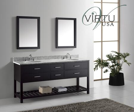 "Virtu USA MD-2272 Virtu USA 72"" Caroline Estate Double Sink Bathroom Vanity Set in with Italian Carrara White Marble Countertop"