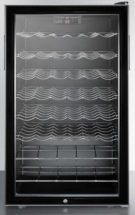 """Summit SWC525L7x 20"""" Commercially Approved Wine Cellar with 6 Scallop Shelves, 2 Wire Wine Shelves, 40 Wine Bottle Capacity, Automatic Defrost, and Lock, in Black"""