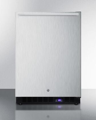 """Summit SPFF51OS 24"""" Commercially Approved Compact Upright Freezer with 4.72 cu. ft. Capacity, Weatherproof Design, Digital Thermostat, Factory Installed Lock and Black Cabinet, in Stainless Steel:"""